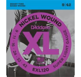 D'ADDARIO EXL 120 NICKEL WOUND 9-42
