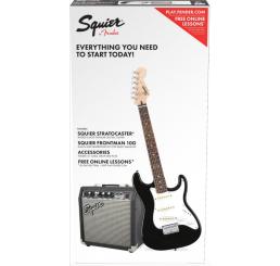 SQUIER SHORT SCALE STRAT PACK BLACK