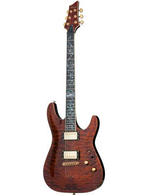 SCHECTER C-1 CLASSIC ANTIQUE AMBER, VINE OF LIFE INLAY